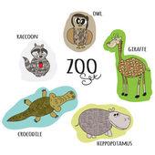 Cartoon zoo set — Stock Vector
