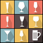 Icons with stemware in Flat Design — Stock Vector