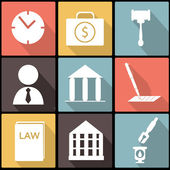 Legal, law and justice icon set in Flat Design — Stock Vector