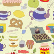 Tea Party with cup of tea and desserts, fruits — Stock Vector