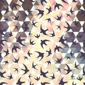 swallow and hexagons — Stock Vector