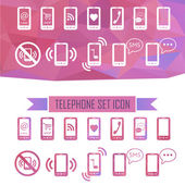Icons with a smartphone. effect of crystal — Vector de stock