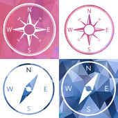 Icon in crystal style, compass — Stock Vector