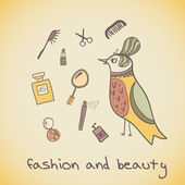 Makeup cosmetics and fashion beautiful bird — Stock Vector
