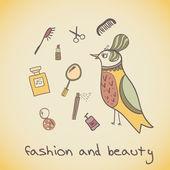 Makeup cosmetics and fashion beautiful bird — Stock Vector