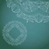 Circle lace hand-drawn ornament card — Vector de stock