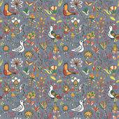 Kuşlar ve çiçekler ile sorunsuz çiçek desenli — Stok Vektör