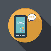 Smartphone with cloud of speaking dialogue — Vector de stock