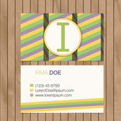 Business card with alphabet letter — Vector de stock