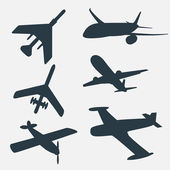 A group of planes in all different angles. — Stock Vector