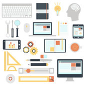 Icons set of SEO website searching optimization and technology development — Vector de stock