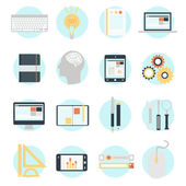 Icons set of SEO website searching optimization and technology development — Stock Vector