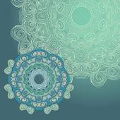 Circle lace hand-drawn ornament card — Stock Vector