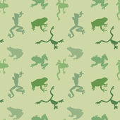 Seamless  pattern of green frog — Stock Vector