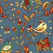 Flower and bird. Seamless texture — Stock Vector