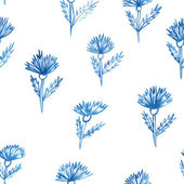 Pattern, flowers, aquarelle cornflower — Stock Vector