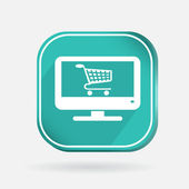Monitor with shopping cart — Stock Vector