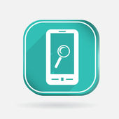 Smartphone, magnifying glass — Stock Vector