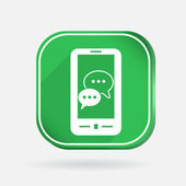Smartphon, cloud of speaking dialogue. — Stock Vector