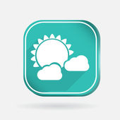 Sun behind the cloud icon — Stock Vector
