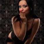 Fashion shoot of beautiful woman in luxury lingerie — Stock Photo