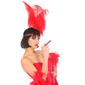 Burlesque dancer with red plumage and short dress, isolated on white — Stock Photo