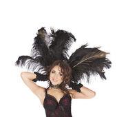 One sexy burlesque dancer woman stripper showgirl in studio — Stock Photo