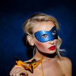 Beauty lady posing in mask. — Stock Photo