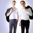 Stok fotoğraf: Two young businessmposing.
