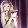 Celebrating blonde attractive lady. — Stock Photo