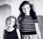 Two young girl posing  — Foto Stock