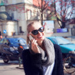 Attractive blonde beauty talking by phone — Stock Photo #45796479