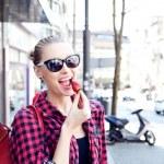 Beautiful girl eating — Stock Photo #46679867