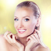 Closeup beauty portrait of blonde woman — Stock Photo
