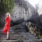Elegant blonde woman posing outdoor — Stock Photo