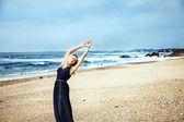 Blonde woman dancing outdoor — Stock Photo