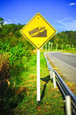Steep grade hill traffic sign on road in thailand — Stock Photo