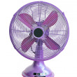 Vintage violet electric fan on white background — Stock Photo