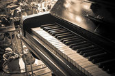 Piano key with sepia tone — Stock Photo