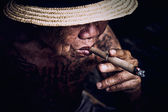 Very old Man smoke a cigarette  — Foto Stock