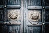 Ağzında halka ile aslan başı kapı tokmağı — Stok fotoğraf