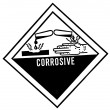Warning label of corrosive, destroys living tissue on contact, h — Stock Photo #47197303