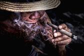Very old Man smoke a cigarette — Stock Photo