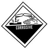 Warning label of corrosive, destroys living tissue on contact, h — Stock Photo