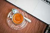 Notebook And Coffee Cup On Old Wooden Background, Business Concept — Foto Stock