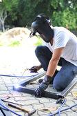 Worker weld metal — Stock Photo