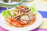 Som Tam Thai - Green Papaya Salad with peanuts. — Stock Photo