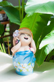 Smile baby doll statue in the home — Foto de Stock
