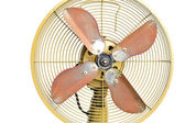 Vintage yellow electric fan on white background  — Stock Photo