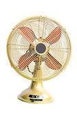 Vintage ventilador eléctrico amarillo sobre fondo blanco — Foto de Stock